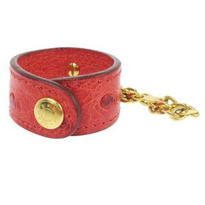 HERMES Key Chain Glove Holder Red Gold Ostrich
